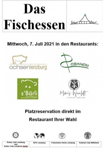 Das Fischessen 2021 fand  in vier Lenzburger Restaurants statt.